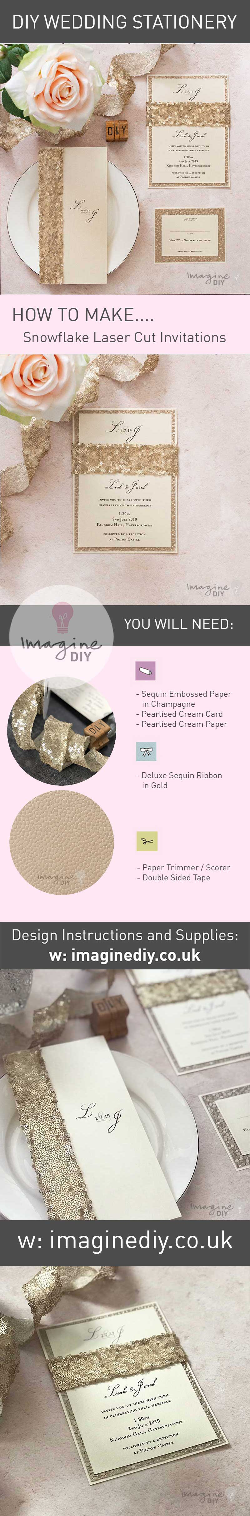 how to make luxury DIY wedding stationery. Gold sequin wedding invitations to make yourself. How to make your own wedding stationery. DIY wedding ideas.