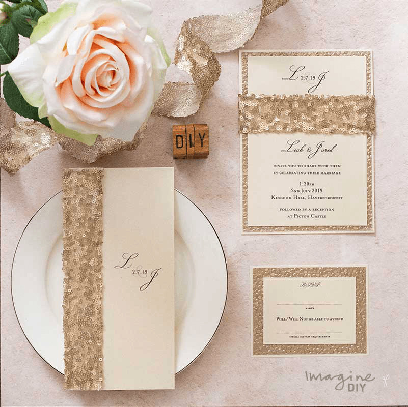 Write Your Own Wedding Invitations: Luxury_gold_sequin_diy_wedding_stationery