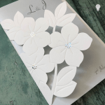 laser cut invitation with flower details. Printable invitation sets, printable invitation with templates. Laser cut invitation with white embossed flowers. DIY wedding stationery supplies. DIY invitation sets.