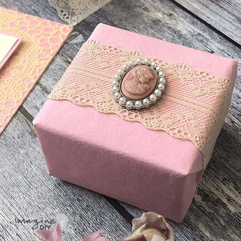 DIY wedding invitation with lace and pearls. Make your own wedding stationery. DIY wedding ideas. Dusky pink and cream wedding invitations and wedding stationery. DIY wedding stationery supplies available from Imagine DIY
