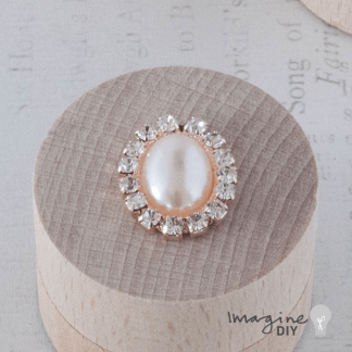 Pearl and Crystal Oval - Rose Gold