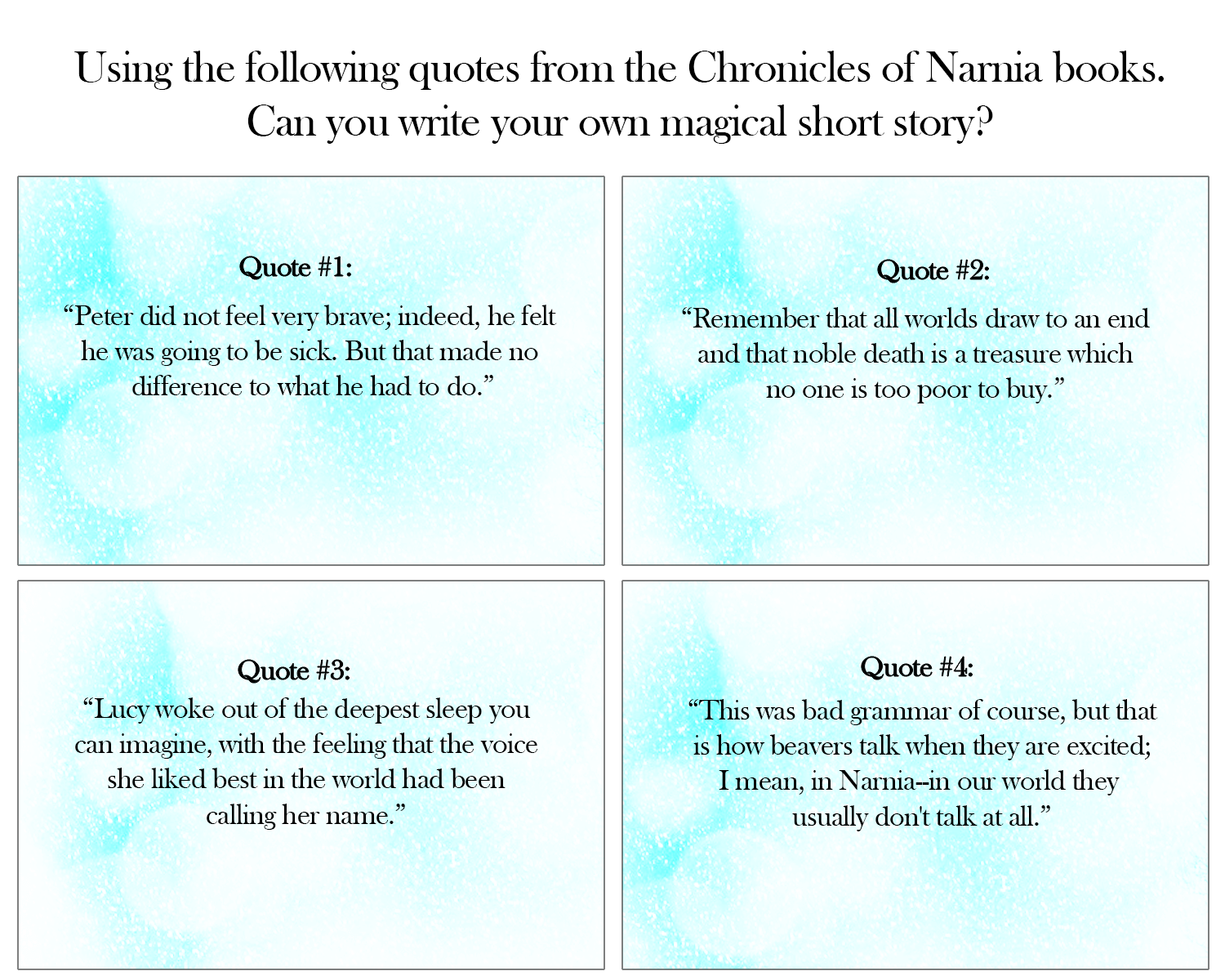 5 Writing Activities The Chronicles Of Narnia