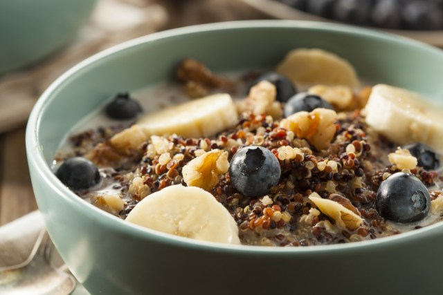Quinoa Breakfast Porridge with Nuts Milk and Berries