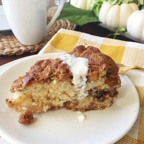 Moist and delicious walnut pear sour cream coffee cake recipe