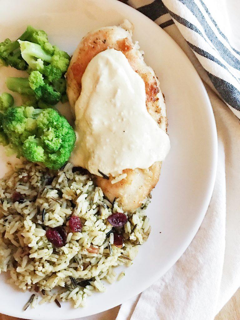 Creamy Chicken and Cranberry Pecan Wild Rice