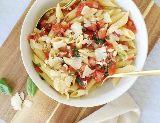 Pasta with tomatoes basil and fresh parmesan