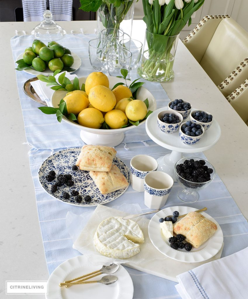 Links I'm Loving Blue and White Tablescape Citrine Living
