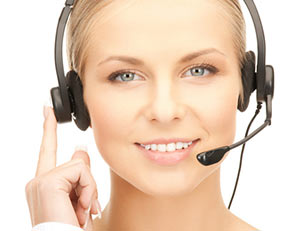 Woman with a headset on waiting for your phone call.