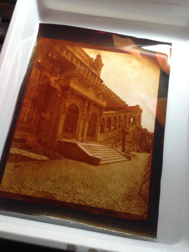 Cópia em colódio cloreto em papel Arches Platine a partir de um negativo de papel encerado 25x30cm.