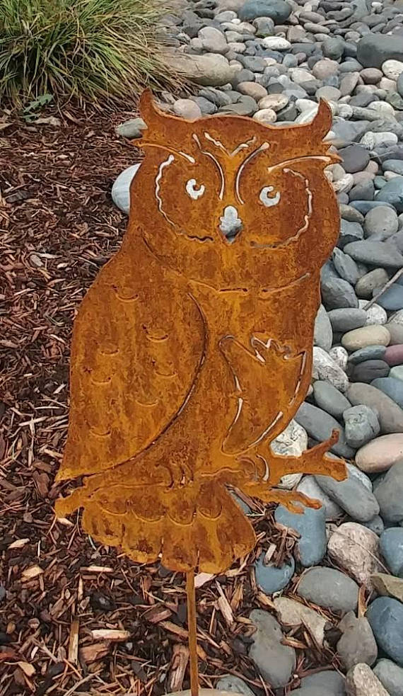 Metal Owl Garden Stake, Metal Owl Statue, Lawn, Yard Or Garden Animals U0026  Ornaments