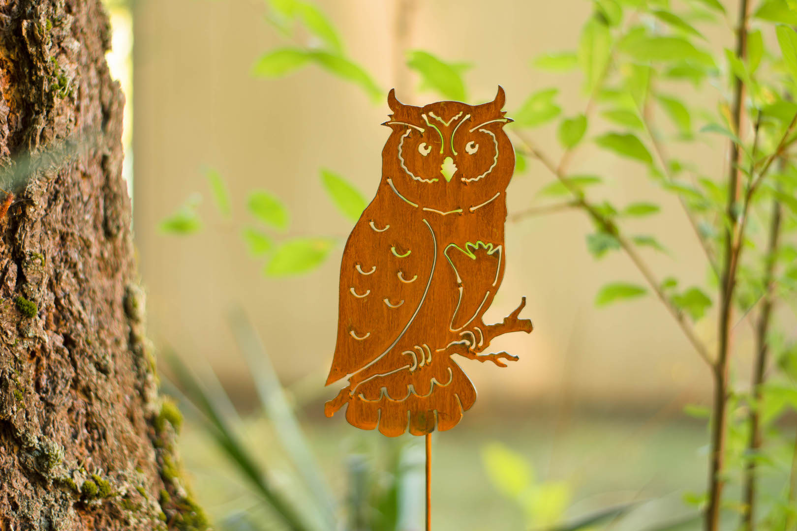 metal owl garden stake metal owl statue lawn yard or garden animals ornaments - Garden Animals