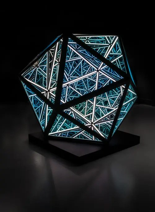 James-Anthony-Portal Icosahedron-Steel-LEDs-Glass-Mirrors