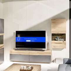 High End Living Room Furniture Ideas With Dark Leather Sofa Rounded Designer Oak Entertainment Unit | Modern Tv ...