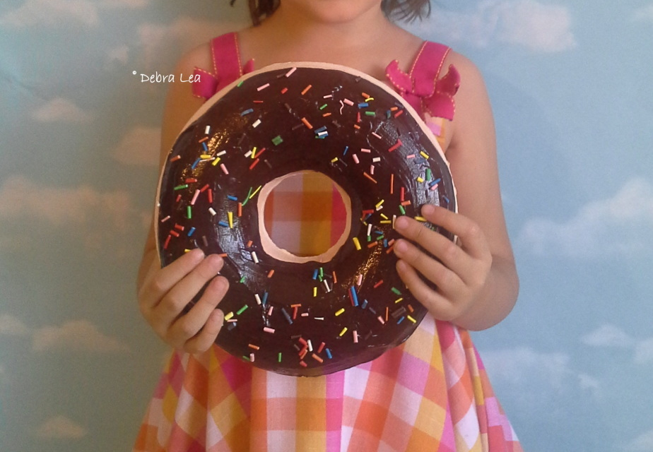 GIANT Faux Donut Fake Doughnut DARK Chocolate with
