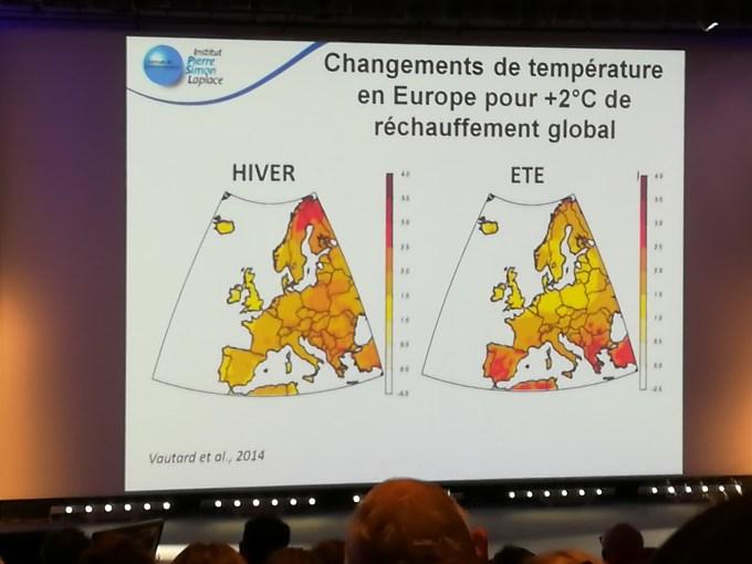 Les changements de température dûs au réchauffement climatique