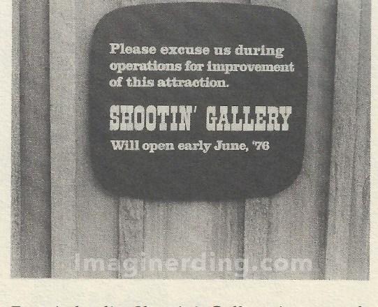 Frontierland Shooting Gallery Refurbishment Sign