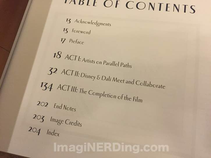 destino table of contents