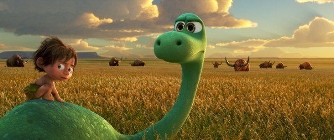 """AN UNLIKELY PAIR — In Disney•Pixar's """"The Good Dinosaur"""" Arlo, an Apatosaurus, encounters a human named Spot. Together, they brave an epic journey through a harsh and mysterious landscape. Directed by Peter Sohn, """"The Good Dinosaur"""" opens in theaters nationwide Nov. 25, 2015. ©2015 Disney•Pixar. All Rights Reserved."""