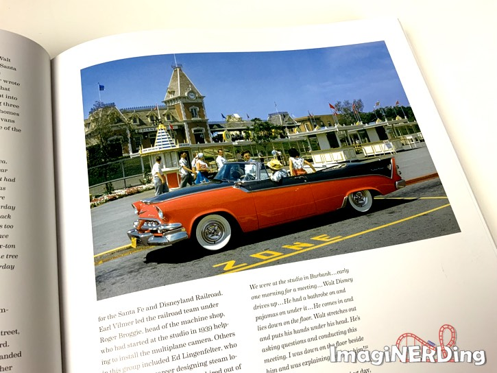 teens sitting in a red car outside of the ticket turnstiles at Disneyland from the book Walt Disney's Disneyland