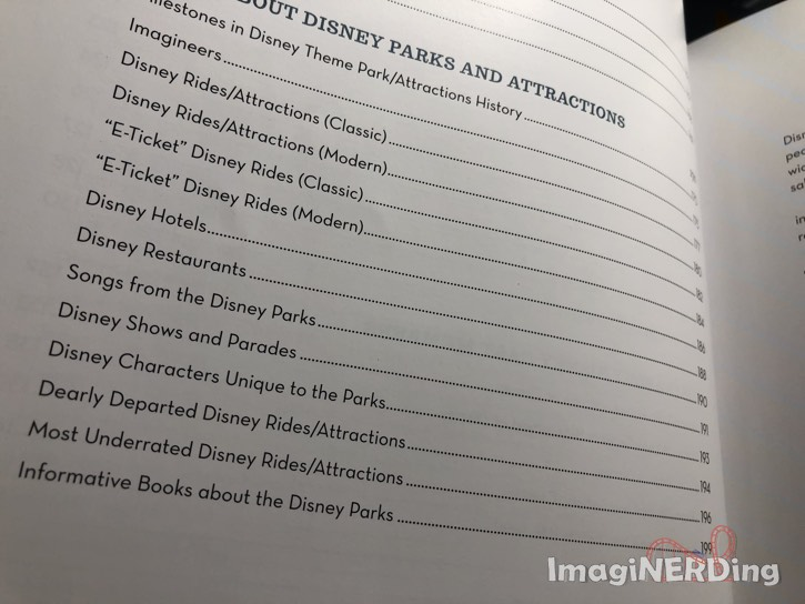 table of contents page from Top Disney by Christopher Lucas