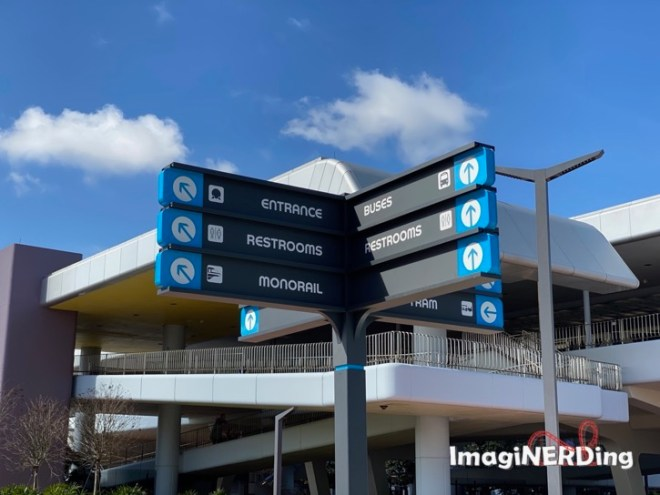 new signs outside of epcot center with new colors and font