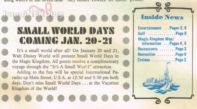 small world days advertisement from walt disney world news