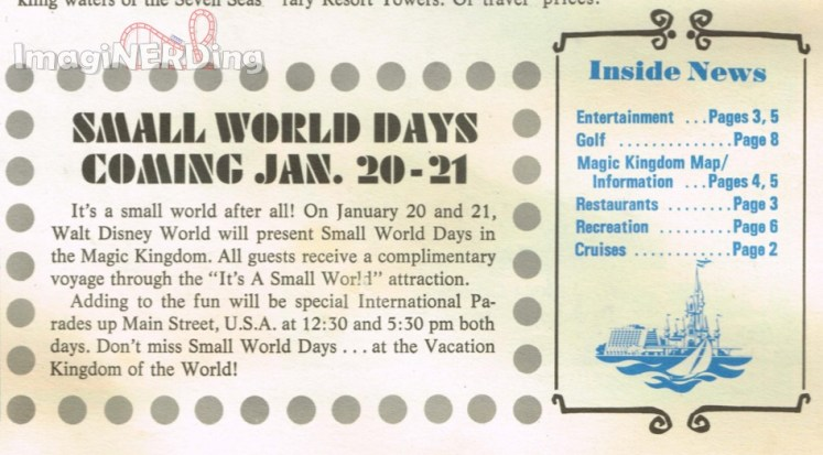small world days advertisement from walt disney world news