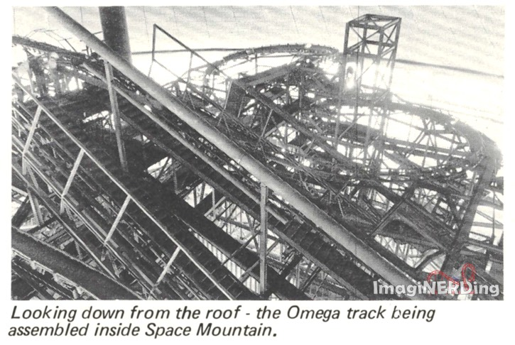 looking down from the roof- the Omega track being assembled inside Space Mountain. 1974 Magic Kingdom