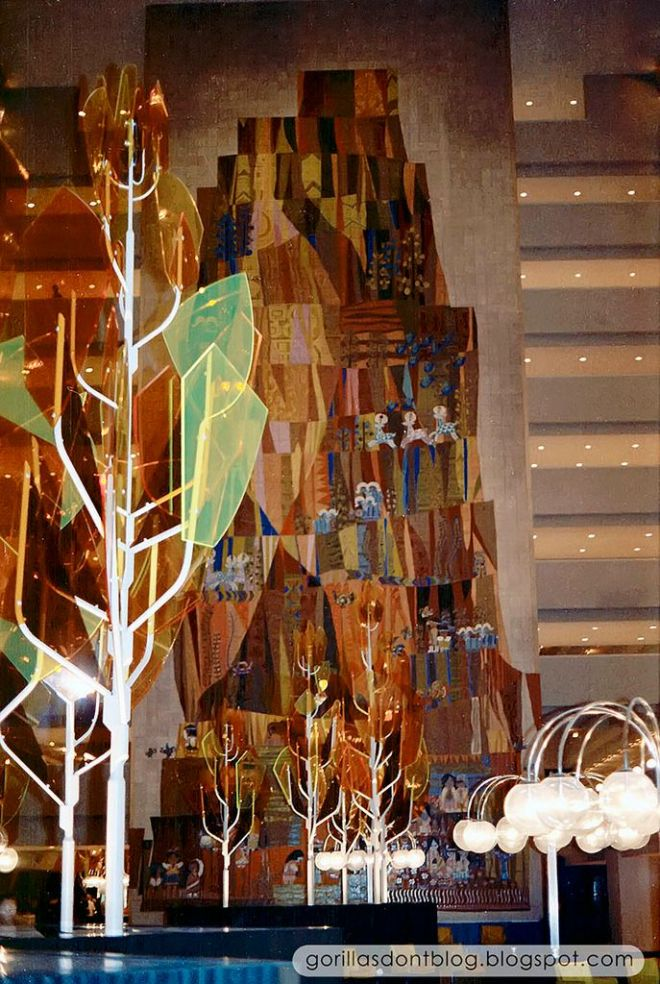 A view of the Grand Canyon Concourse Mary Blair mural at the Contemporary Resort from 1971.