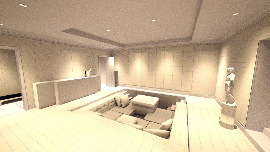 Mid design home cinema room, from rear right towards screen.