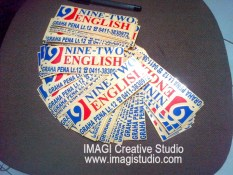 cutting sticker pesanan ninetwo english makassar - logo and cutting by imagi sticker makassar