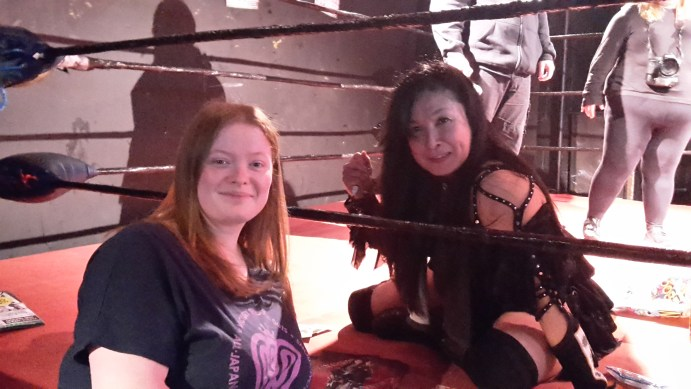 Manami Toyota and Sarah Parkin at a wrestling show in 2016.