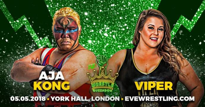 Aja Kong vs Viper match graphic for Pro Wrestling EVE Wrestle Queendom