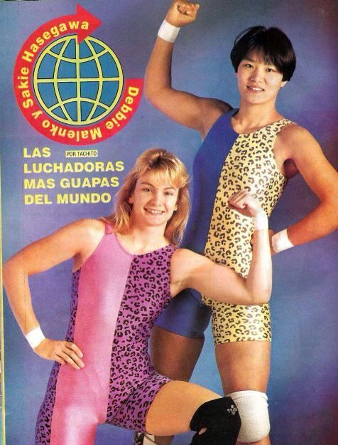 Sakie Hasegawa and Debbie Malenko in their brightly coloured singlets, reminiscent of the Steiner Brothers