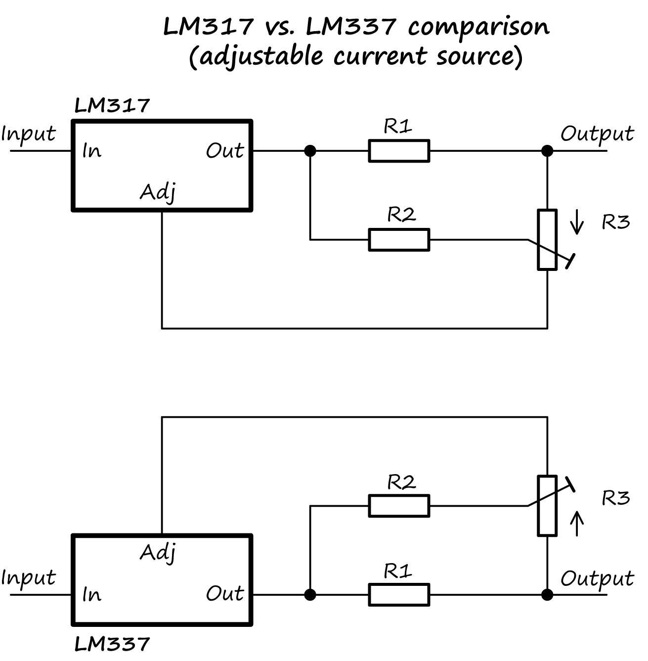 hight resolution of i ve shown both circuits below you can see how the lm337 circuit has the same connections i ve just flipped it upside down for ease of viewing