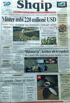 Numri i pare i gazetes Shqip, marre nga Gazetari Muhamed Veliu (FB)
