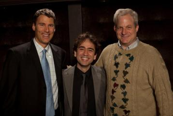 Mayor Gregor Robertson, Iman Habibi, and Jeremy Berkman - Iman Habibi presented with Vancouver Mayor's Arts Award for Emerging Artist in Music - 2011