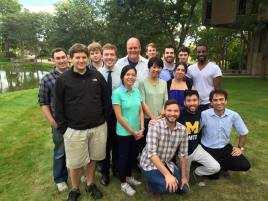 University of Michigan's Graduate Composition Students. From Left to Right: Matthew Browne, Jim Anderson, Tyler Arnold, Jules Pegram, Jessica Wie, Michael Daugherty, Nathan Thatcher, Shu Zhu, Aaron Hendrix, Donia Jarrar, Andrew Posner, Carlos Simon - Sitting: Brandon Rumsey, Baldwin Giang, Iman Habibi, September 2015