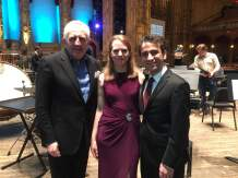 right to left: Bramwell Tovey, Deborah Grimmett, Iman Habibi on Orpheum Theatre's stage following our performance of Saint-Saëns' Carnival of the Animals with the Vancouver Symphony Orchestra