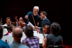 Iman Habibi with composer John Adams and The Philadelphia Orchestra, working on Habibi's Jeder Baum Spricht