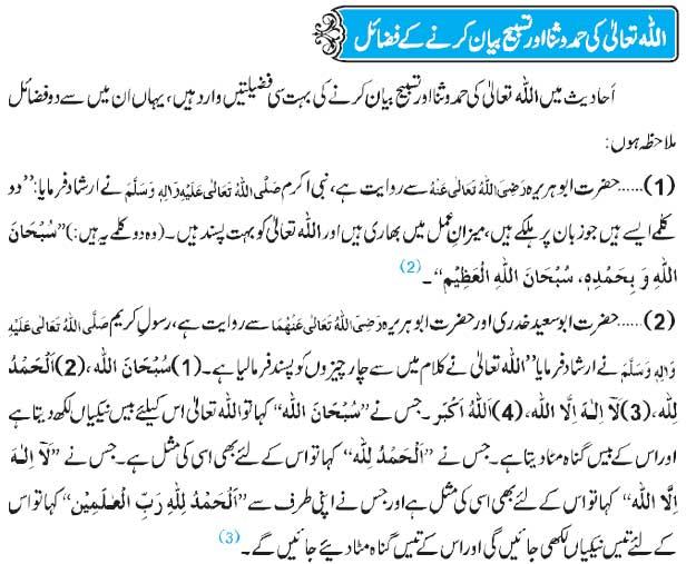Allah Ki Hamd-o-Sana Kay Fazail