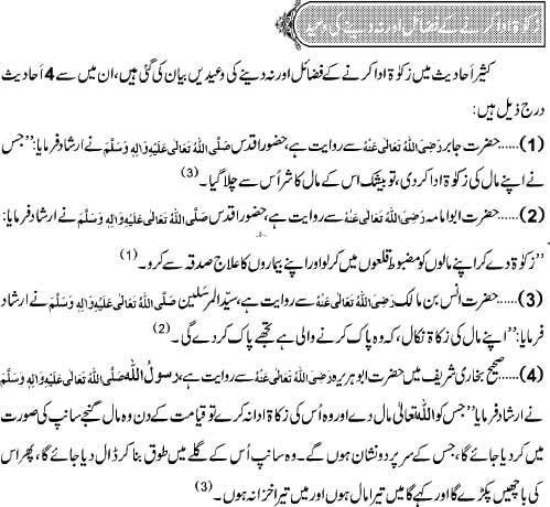 Zakat Ada Karnay Ke Fazail Aur Na Dainay Per Waeed