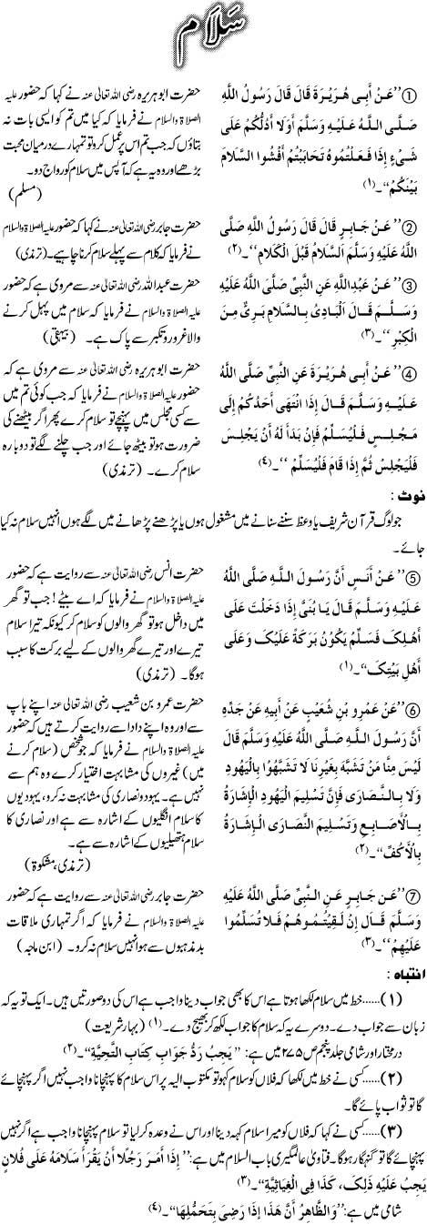 Salam Kay Mutaliq Ahkam