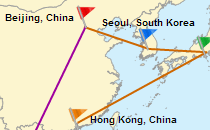 Interactive travel map with lines