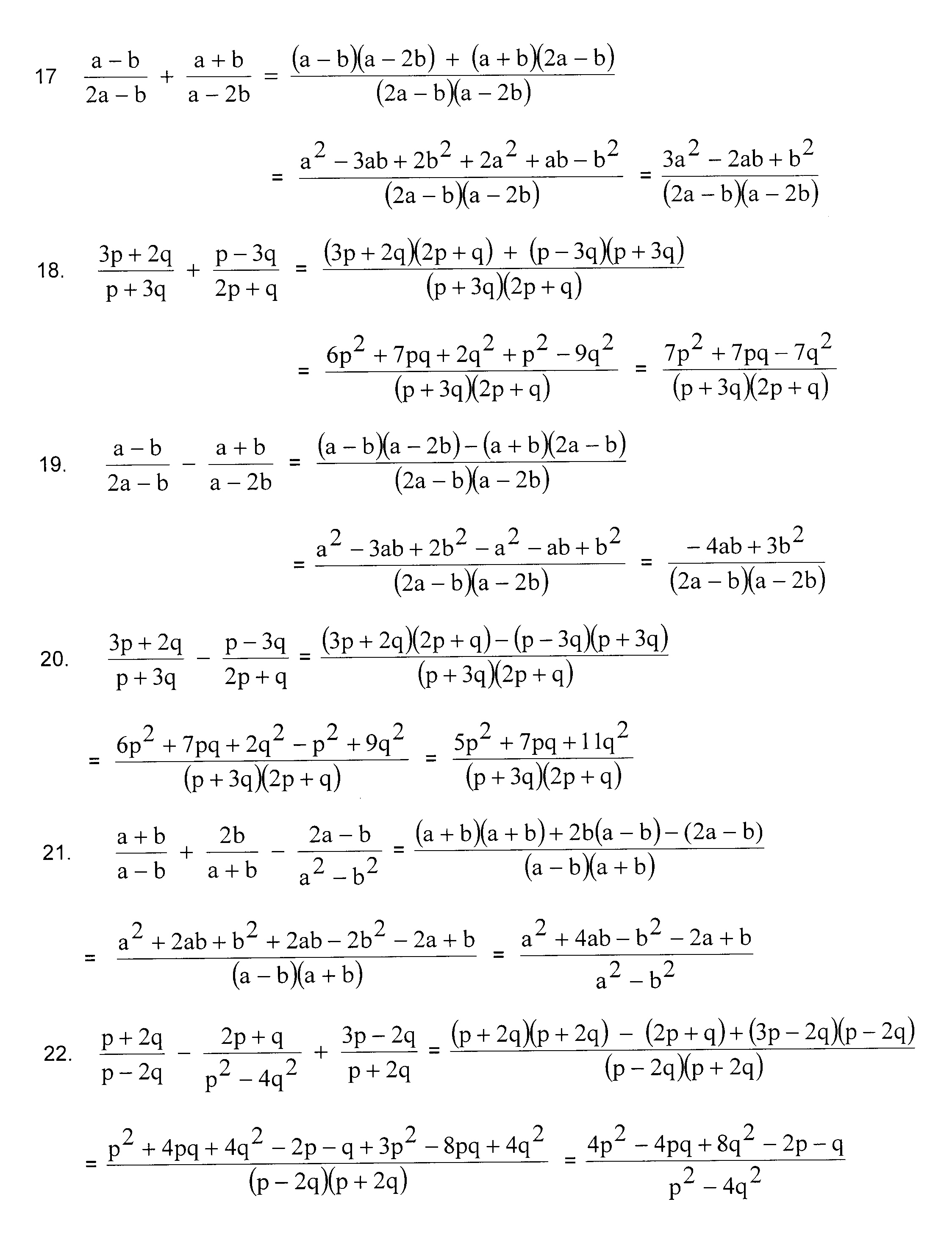 Year 11 Algebra Worksheets