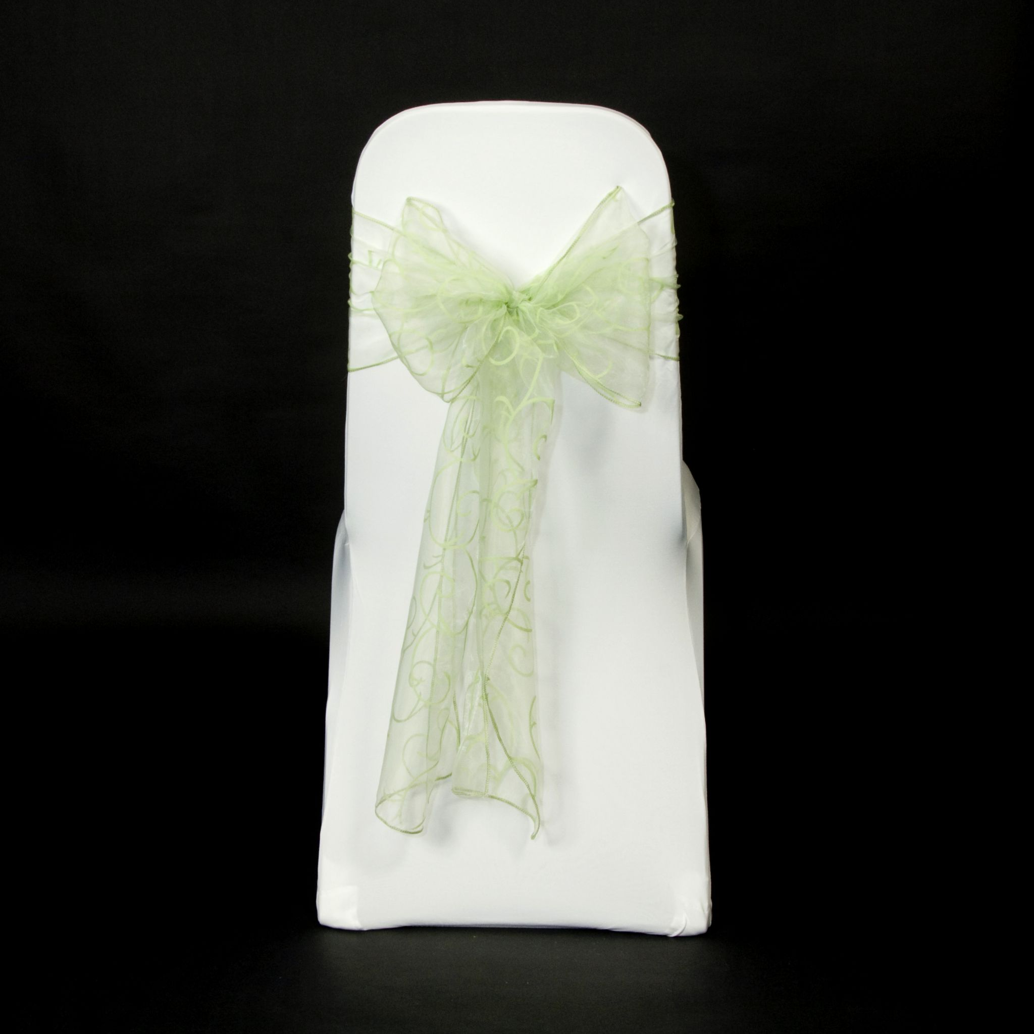 chair covers sage green bungee cord menards flocked organza sashes