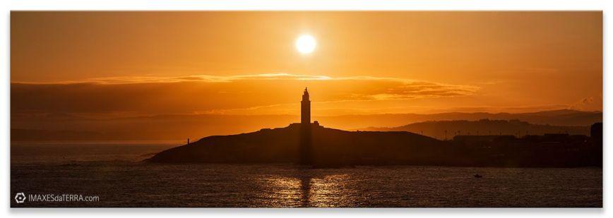 Amanecer Torre de Hércules Coruña Galicia, Comprar fotografía, paisaje, faros de Galicia, decoración