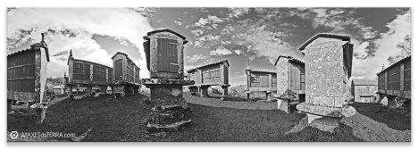 Hórreos  Eira  da Ermida en Filgueira, Comprar fotografía Galicia  Eira  da Ermida Hórreos Natureza Cerdedo Filgueira Pontevedra Decoración Paisaxes, Branco e Negro