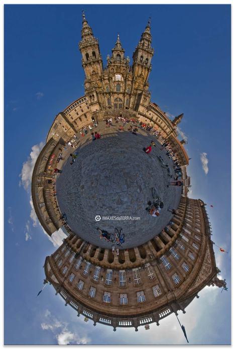 Planeta Obradoiro, Comprar fotografía de Galicia Santiago de Compostela Catedral Peregrinos Plaza do Obradorio Camino de Santiago Decoración fotografía pequeño planeta