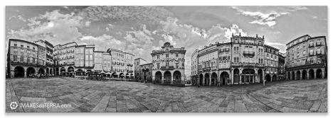 Ourense Plaza Maior b&n, Comprar fotografía de Galicia Ourense Plaza Maior Decoración Panorámica b&n